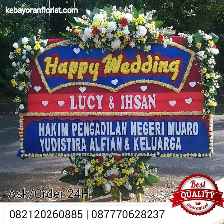 jual bunga papan happy wedding, bunga wedding, bunga papan pernikahan, bunga ucapan wedding