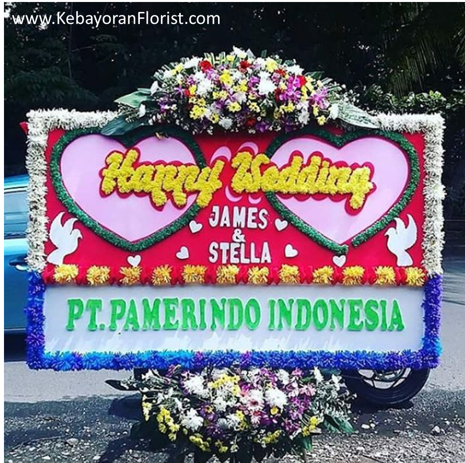 jual bunga papan happy wedding murah